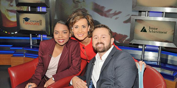 American Graduate Day 2017 segment host Susie Gharib with high school junior Jakayla Dixon and Junior Achievement Mentor Brad Chapman