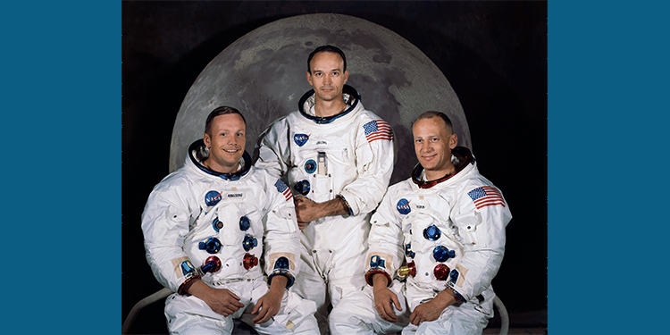 Left to right, Neil Armstrong, commander; Michael Collins, command module pilot; and Edwin E. Aldrin Jr., lunar module pilot, Apollo 11.  Courtesy of NASA, 1969
