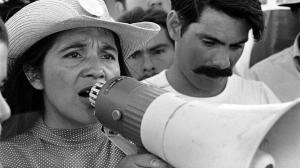 United Farm Workers leader Dolores Huerta organizing marchers on the second day of March Coachella in Coachella, CA, 1969. Credit: 1976 George Ballis/Take Stock/The Image Works