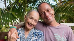 Chef Ed Kennedy, Series Host and Chef and Owner of Town Kaimuki in Honolulu, with his mother, Beverly Now. Credit: Renea Veneri Stewart