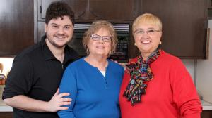 In Bethlehem, PA, Bonnie Boyer and grandson Adam show Lidia how to make shoofly pie. Photo courtesy of WGBH