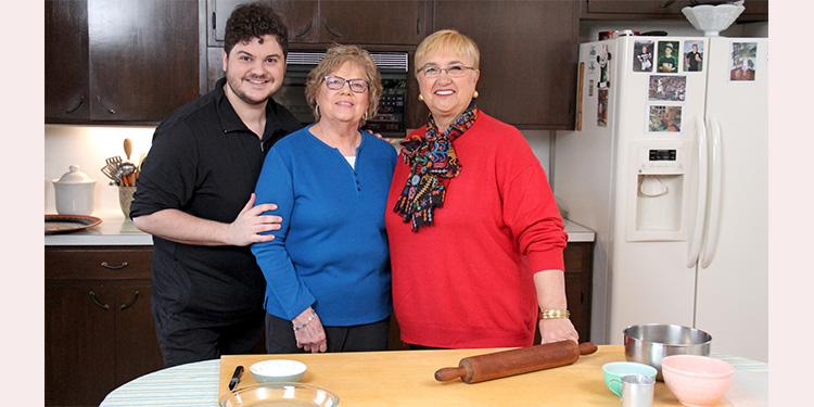 In Bethlehem, Pennsylvania, Lidia Bastianich (at right) visits Bonnie Boyer, who is renowned for her shoofly pie, and Bonnie's grandson Adam. Photo by Meredith Nierman/WGBH.
