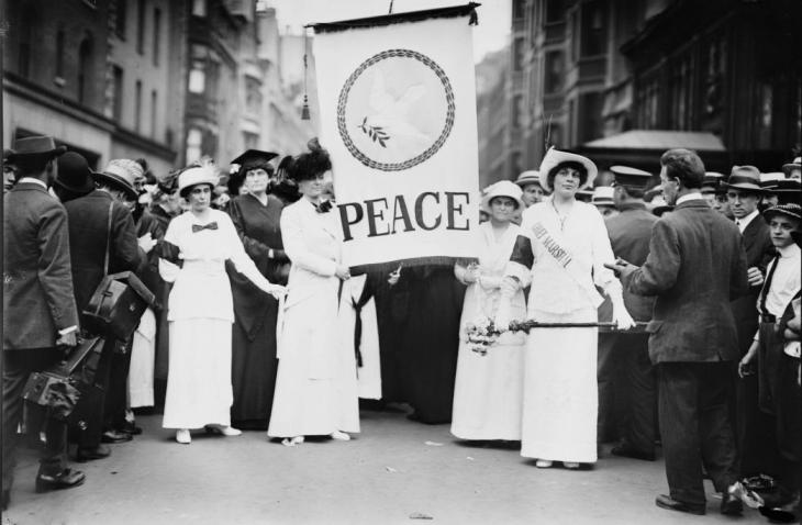 Participants in a Women's Peace Parade down New York City's Fifth Avenue in August, 1914. Credit: Library of Congress