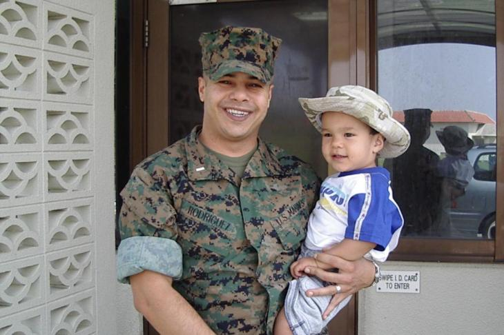 Military Voices Initiative participant Ernesto Rodriguez and his son Sebastian. Credit: StoryCorps