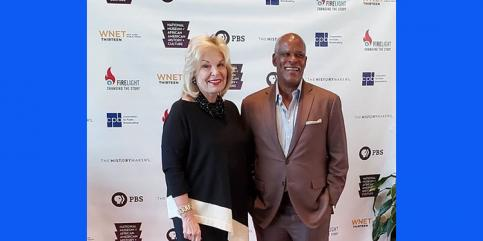 "CPB President and CEO Pat Harrison with public media award-winning filmmaker Stanley Nelson at a screening of ""Boss: The Black Experience in Business."" April 22, 2019, at the Smithsonian National Museum of African American History and Culture."