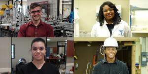 Four students in vocational attire and settings as part of training through Career Technology programs in Cincinnati are