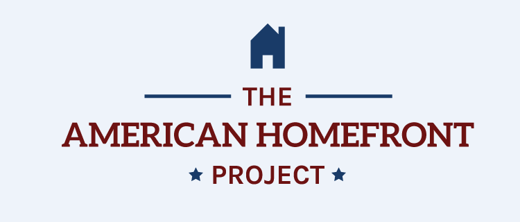 The American Homefront logo is in on a powder blue background.