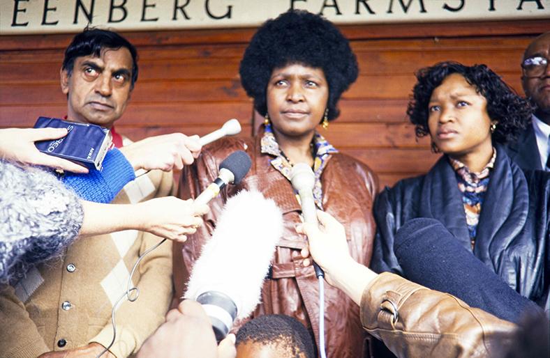Winnie Mandela at press conference, 1989. Courtesy of Adil Bradlow/Africa Media Online