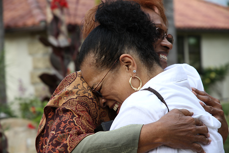 """In """"Freedom Summer,"""" Fatima Cortez-Todd (left) reunites with Thelma Caulfield (right). Courtesy of Justine Kershaw/Blink Films"""