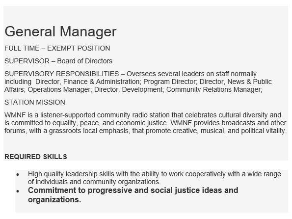 WMNF job listing detail